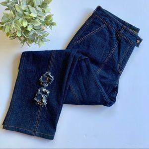 Escada   Blue Jeans Straight Leg Floral Detail